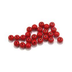 Мънисто плътно топче 8 мм дупка 2 мм червено -50 грама ~ 180 броя