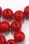 Мънисто плътно топче 10 мм дупка 2 мм червено -50 грама ~ 95 броя
