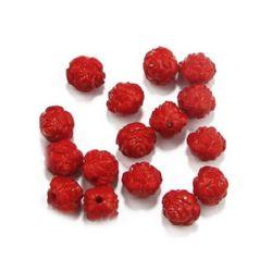 Margele solida trandafir 12x12 mm gaura 2 mm roșu -50 grame ~ 65 buc