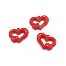 Margele solidă inima 35x26x7 mm gaură 3 mm roșu -50 grame ~ 18 bucăți