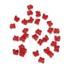 Margele  fluture de cristal 8x7x5 mm gaură 1,6 mm roșu -50 grame ~ 390 bucăți