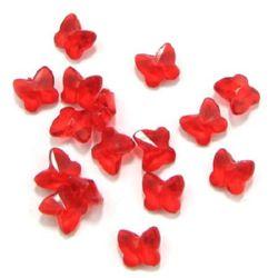 Fluture de cristal mărgele 12x11x8 mm gaură 1,6 mm roșu -50 grame ~ 110 bucăți