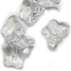 Χάντρα απομίμηση κρύσταλλο πεταλούδα 15x12x7 mm τρύπα 1,5 mm διαφανές -50 γραμμάρια