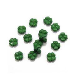 Мънисто плътно детелина 12х5 мм дупка 1 мм зелено -50 грама ~106 броя
