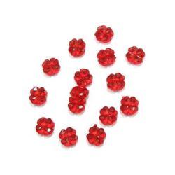 Χάντρα απομίμηση κρύσταλλο τριφύλλι 12x5 mm τρύπα 1 mm κόκκινο - 50 γραμμάρια ~ 100 τεμάχια