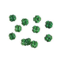 Мънисто кристал детелина 12х5мм дупка 1 мм зелено - 50 грама ~ 100 броя