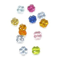 Χάντρα απομίμηση κρύσταλλο τριφύλλι 12x5mm τρύπα 1 mm MIX - 50 γραμμάρια ~ 100 τεμάχια