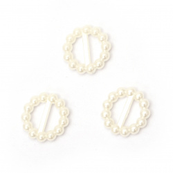 Connecting element pearl 15x3 mm hole 15x3 mm color cream -50 pieces