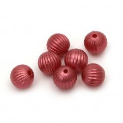 Margele perlă forma  pepene galben 10 mm gaură 1,5 mm culoare roșu închis - 20 grame ~ 45 bucăți