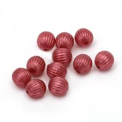Мънисто перла топче пъпеш 8 мм дупка 1.5 мм цвят червен тъмно - 20 грама ~75 броя