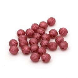 Margele perlă forma pepene galben 6 mm gaură 1 mm culoare roșu închis - 20 grame ~ 190 bucăți