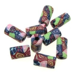 Dyed polymer clay cylinder beads 5x10 mm 6 - 20 pieces
