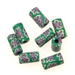Painted polymer clay cylinder shaped beads 5x10 mm 10 - 20 pieces