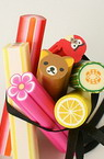 Polymer Clay Beads, Cylinder, Mixed Fruits, 50x8~12mm, 2 pcs