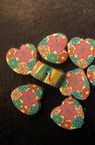 Polymer clay beads, flat in heart shape, little 8 mm 1 - 10 pieces