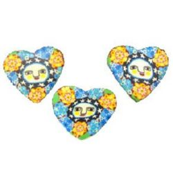Colorful polymer clay beads in heart shape  28 mm 1 - 10 pieces