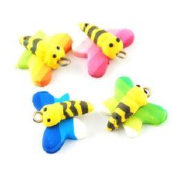 Висулка фимо пчела 20x21x8 мм дупка 2 мм АСОРТЕ