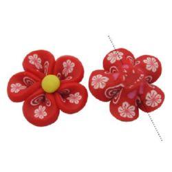 Fimo floare 9x20 mm roșu -4 bucăți