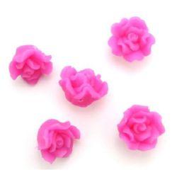 Роза фимо 15x10 мм дупка 1 мм розова -5 броя