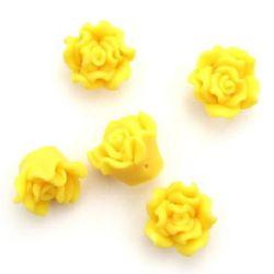 Роза фимо 15x10 мм дупка 1 мм жълта -5 броя