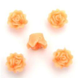 Роза фимо 15x10 мм дупка 1 мм праскова -5 броя