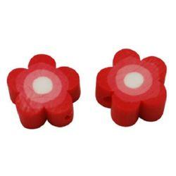 Цвете фимо 10x4 мм дупка 3 мм червено -20 броя
