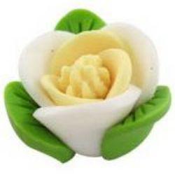 Роза фимо 12 мм бяла -5 броя