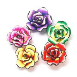 Роза фимо 35x35x15 мм дупка Асорте -1 боий