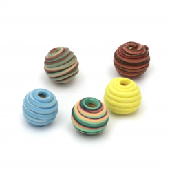 Мънисто фимо топче релеф 10 мм дупка 3 мм микс - 5 броя