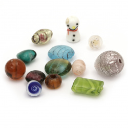 Bead glass Lampwork 11 ~ 29x11 ~ 25x11 ~ 15mm hole 2 ~ 4mm ASSORTMENT shapes, sizes and colors -50 grams