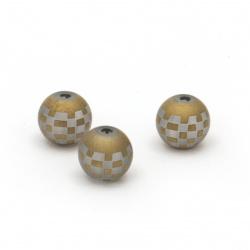 Γυάλινη χάντρα στρόγγυλη 8 ~ 8,5 mm τρύπα 1,5 mm ματ καφέ -5 τεμάχια