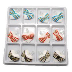 Κρεμαστό γυαλί Murano καρδιά 45x38x16 mm τρύπα 7 mm χειροποίητο διάφορα χρώματα