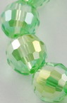 Наниз мъниста кристал многостен 8 мм дупка 1 мм галванизиран зелен дъга ~72 броя