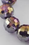 Наниз мъниста кристал многостен 8 мм дупка 1 мм галванизиран лилав дъга ~72 броя