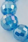 Наниз мъниста кристал многостен 8 мм дупка 1 мм галванизиран син дъга ~72 броя