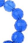 Șirag de mărgele de cristal cu pereți multipli 12 mm gaură 1 mm albastru transparent întunecat ~ 50 bucăți