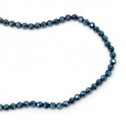Наниз мъниста кристал многостен 8x7 мм дупка 1 мм галванизиран с покритие цвят син ~72 броя