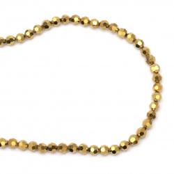Наниз мъниста кристал многостен 8x7 мм дупка 1 мм галванизиран с покритие цвят злато ~72 броя