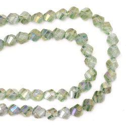 Наниз мъниста кристал 7x7 мм дупка 1 мм прозрачен фасетиран с матирани линии зелен светло дъга ~ 72 броя