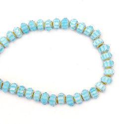 Наниз мъниста кристал 10x6 мм дупка 1 мм рисуван фасетиран син светъл ~72 броя