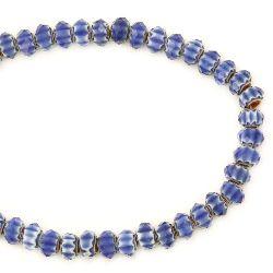 Наниз мъниста кристал 10x6 мм дупка 1 мм рисуван фасетиран син ~72 броя