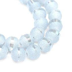 Наниз мъниста кристал топче 4±4.5 мм дупка 1 мм галванизиран матиран наполовина бял опушен ±100 броя