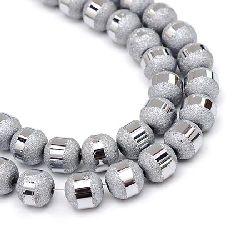Наниз мъниста кристал топче 4~4.5 мм дупка 1 мм галванизиран матиран наполовина цвят сребро ~100 броя