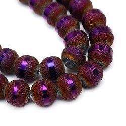 Наниз мъниста кристал топче 6~6.5 мм дупка 1 мм галванизиран матиран наполовина лилав тъмен ~100 броя
