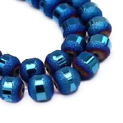 Наниз мъниста кристал топче 6±6.5 мм дупка 1 мм галванизиран матиран наполовина син ±100 броя