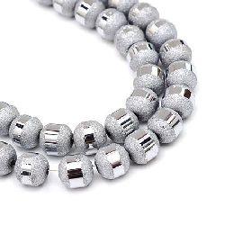 Наниз мъниста кристал топче 6~6.5 мм дупка 1 мм галванизиран матиран наполовина цвят сребро ~100 броя