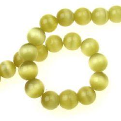 Наниз мъниста стъкло котешко око топче 12 мм дупка 1.5 мм жълто светло ~33 броя