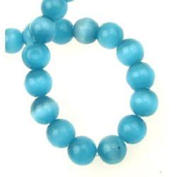 Наниз мъниста стъкло котешко око топче 12 мм дупка 1.5 мм синьо ~33 броя