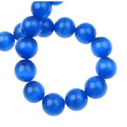 Наниз мъниста стъкло котешко око топче 12 мм дупка 1.5 мм синьо тъмно ~33 броя