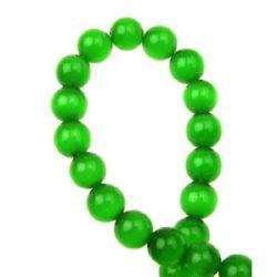 Șirag de mărgele sticlă ochi de pisică bilă 8 mm gaură 1 mm verde închis ~ 50 bucăți
